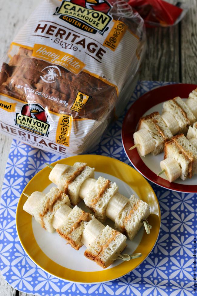Gluten-free PB & Honey Kabobs with Canyon Bakehouse bread