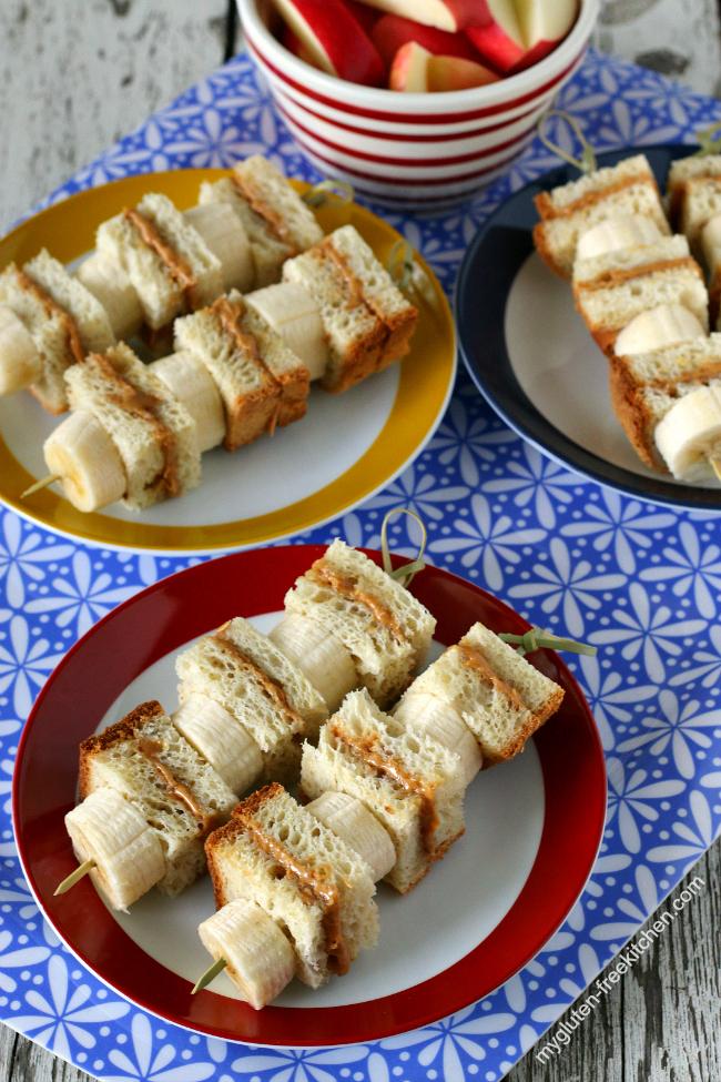 Gluten-free Peanut Butter & Honey Sandwich Kabobs