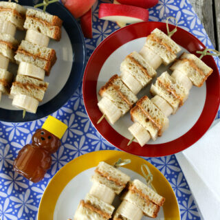Gluten-free Peanut Butter Honey and Banana Sandwich Kabobs. Easy gluten-free, dairy-free lunch recipe.