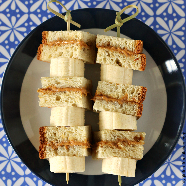 Gluten-free Sandwich Kabobs Peanut Butter Honey and Banana