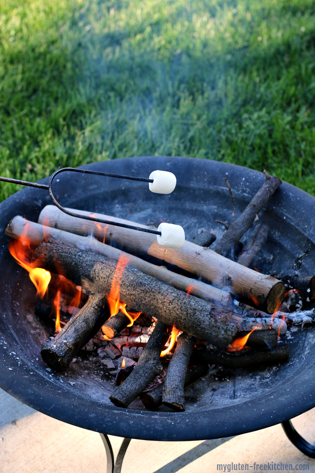 Roasting marshmallows over fire pit in backyard