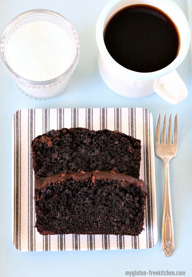 Gluten-free Chocolate Chocolate Chip Banana Bread Recipe. Perfect for gluten-free breakfast or mid-morning snack!