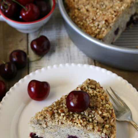 Gluten free Cherry Coffee Cake Recipe. Delicious coffee cake that's dairy-free too.