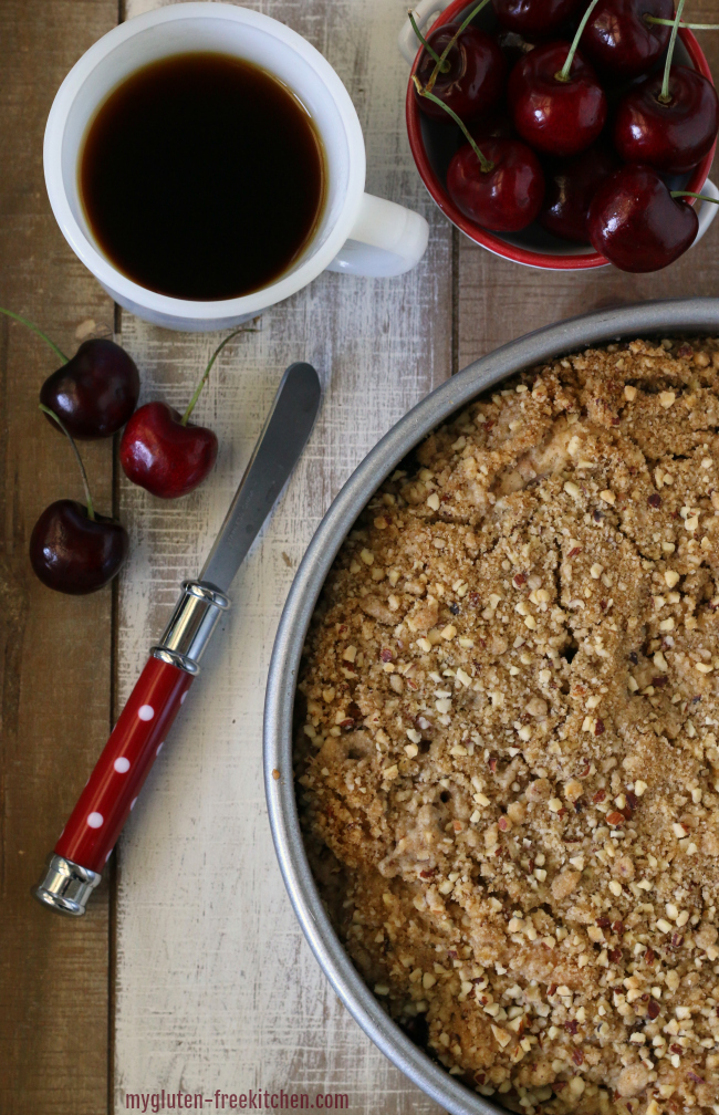 Gluten free Cherry Coffee Cake. This gluten-free and dairy-free coffee cake if full of cherry and almond flavor.