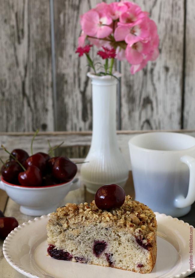 Gluten-free Dairy-free Cherry Almond Coffee Cake