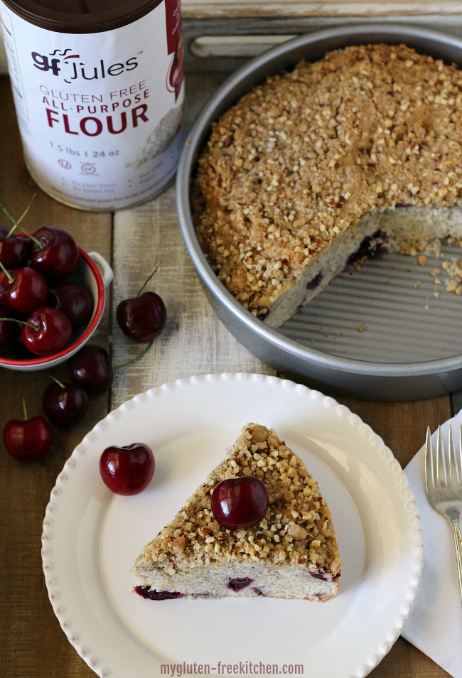 Gluten-free Dairy-free Cherry Almond Coffee cake with gfJules flour