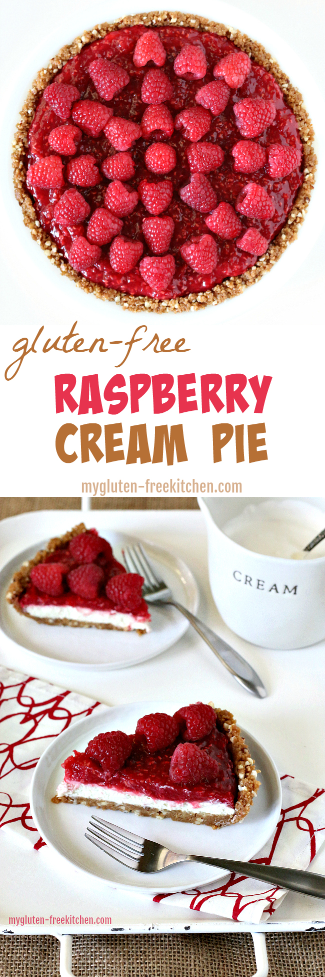 Gluten-free Raspberry Cream Pie Recipe. Delicious no-bake gluten-free pie recipe. #glutenfreepie