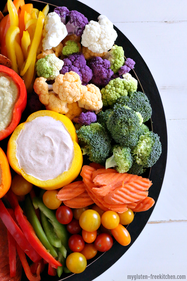 Gluten-free Vegetable Hummus and dip tray