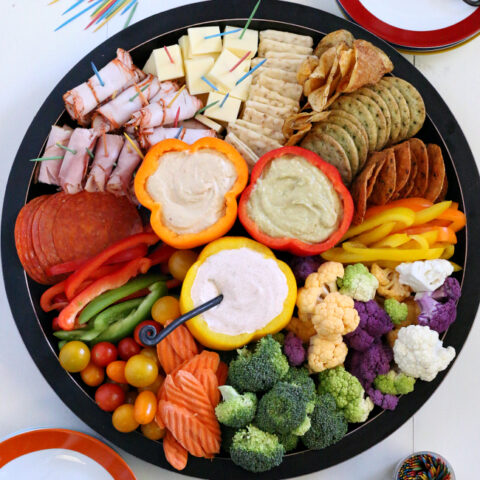 Gluten-free Vegetable Meat and Cheese Tray with dips. A few shortcuts make this a quick and easy dinner or dinner party item that doesn't heat up the kitchen!