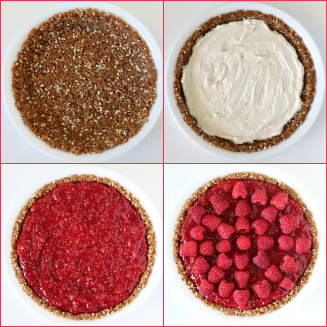 Gluten-free Raspberry Cream Pie with Graham Cookie Crust