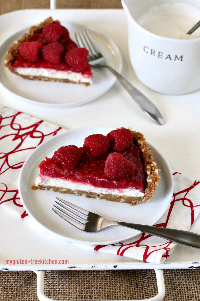 Slices of gluten-free raspberry cream pie