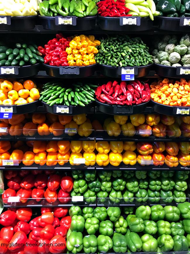 Varieties of peppers at Albertsons
