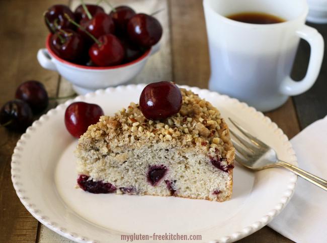 gluten-free dairy free cherry almond coffee cake