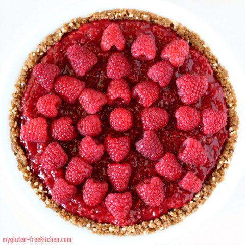 Gluten-free Raspberry Cream Pie (no-bake)