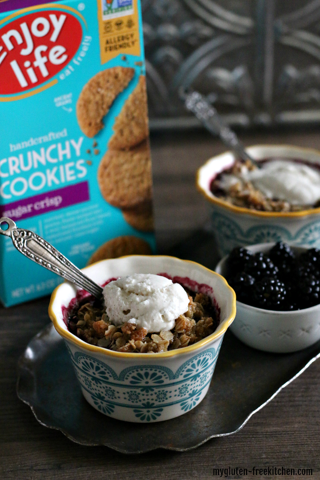 Gluten-free Blackberry Crisp for Two with Enjoy Life Sugar Cookies top 8 free