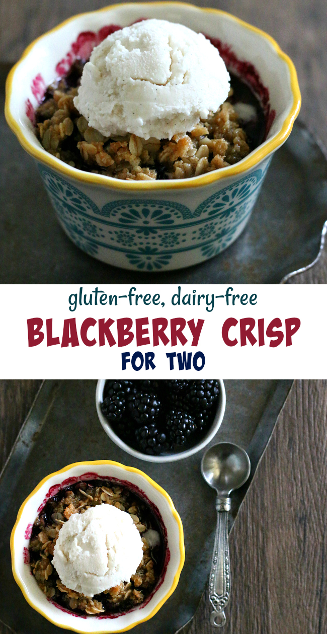 Gluten-free Blackberry Crisp for two. Individual gluten-free blackberry crisps that are dairy-free and free of top allergens too!