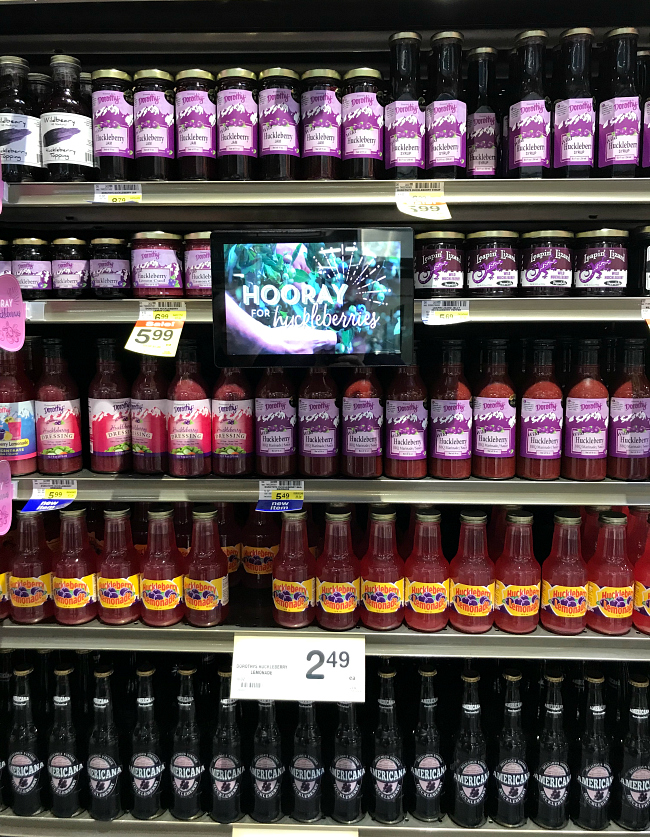 Gluten-free Huckleberry Products at Albertsons on Broadway, BBQ sauce, lemonade, and more.