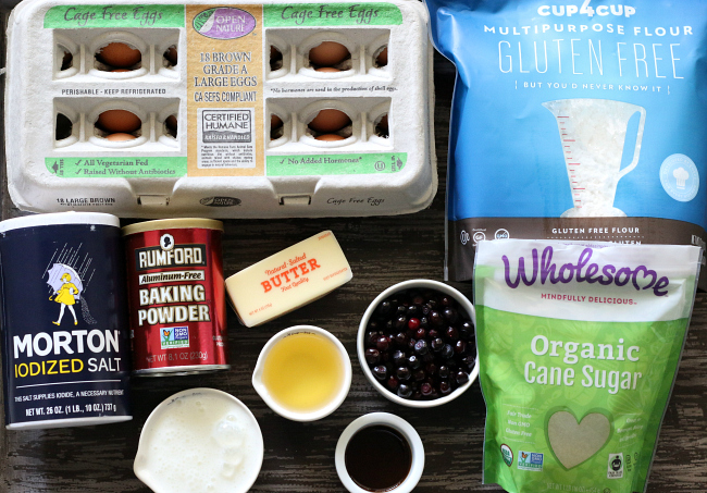 Ingredients for Gluten-free Huckleberry Muffins
