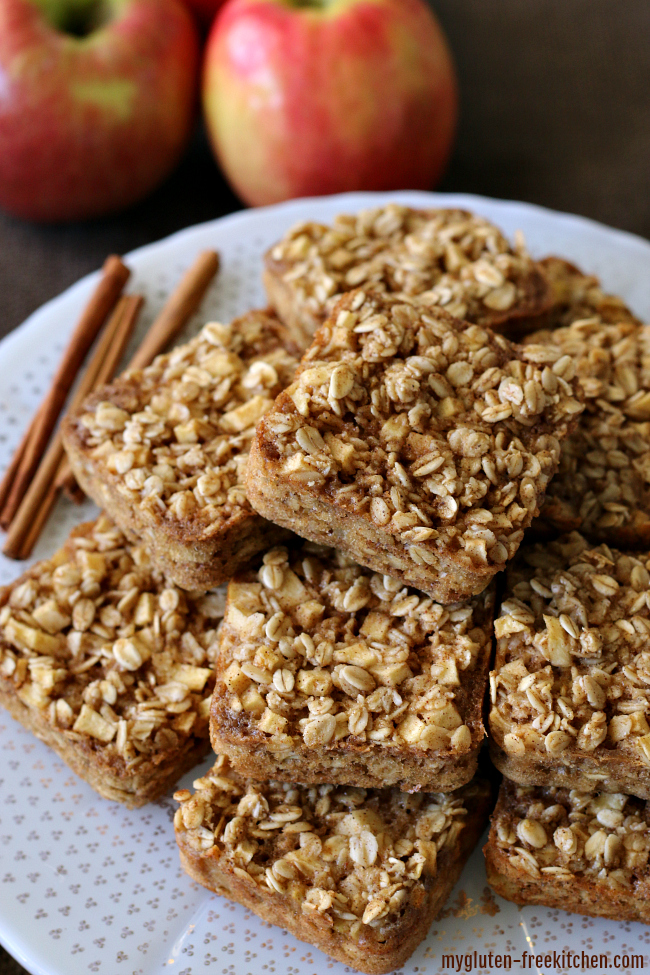 Gluten-free Apple Cinnamon Baked Oatmeal Squares - Great make-ahead breakfast idea. Can grab and go or eat in a bowl with milk or non-dairy milk. These are dairy-free too!