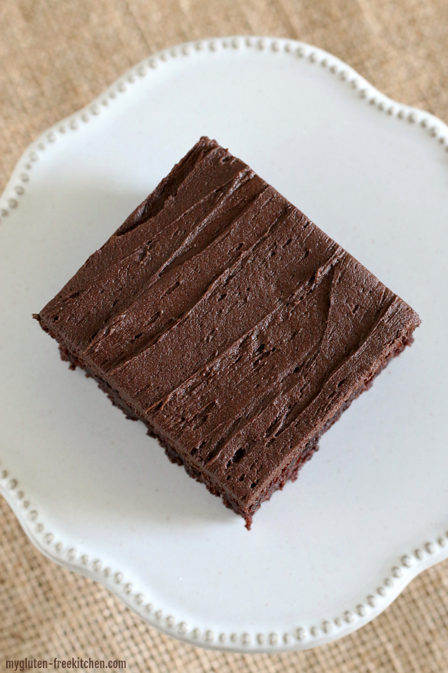 Gluten-free Frosted Brownie. Perfect texture and perfect frosting!