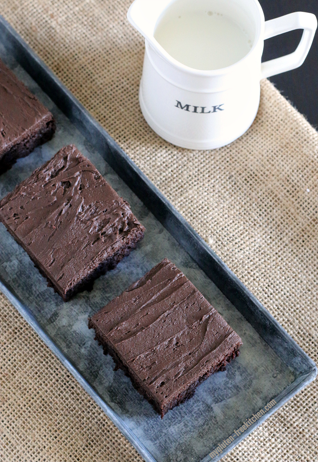 Gluten-free Frosted Brownies with milk