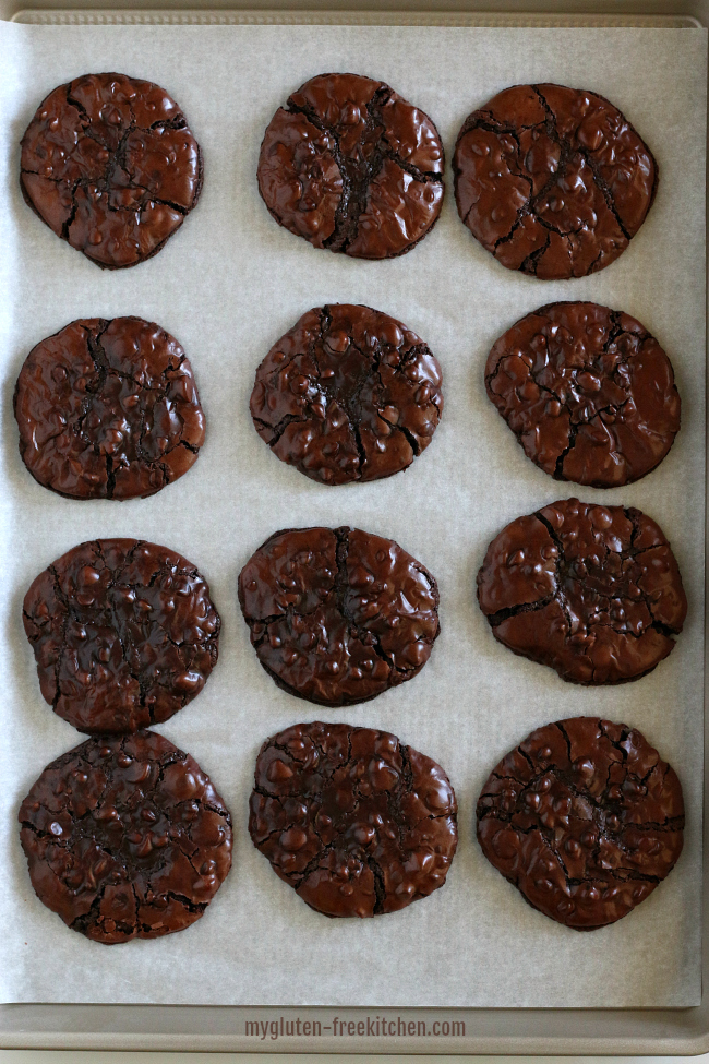 Flourless Chocolate Mudslide Cookies just out of the oven!