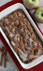 Loaf of gluten-free apple bread in pan