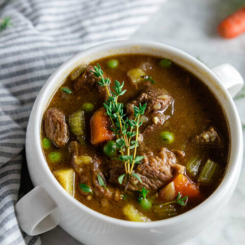 Gluten-free Beef Stew made in the Crockpot. Easy slow-cooked gluten-free dinner.