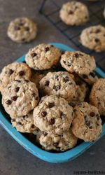 Gluten-free Oatmeal Chocolate Chip Cookies. These are dairy-free too! Easy recipe that makes a LARGE batch!