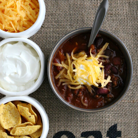Gluten-free Beef Chili Recipe made in the Crock-pot slow cooker.
