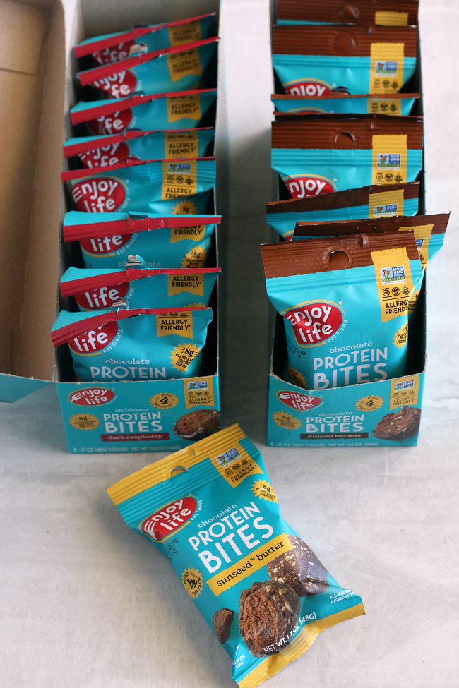 Enjoy Life Protein Bites in boxes