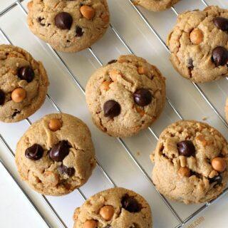 Gluten-free Peanut Butter Butterscotch Chocolate Chip Cookies on cooling rack