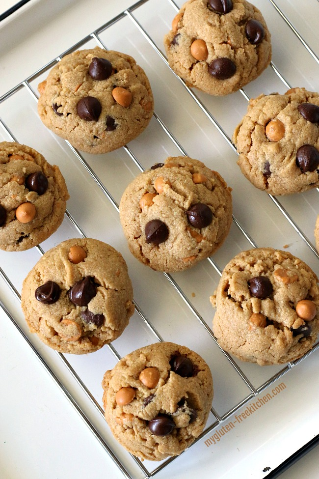 Gluten-free Peanut Butter Butterscotch Chocolate Chip Cookies on cooling rack