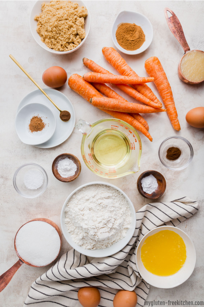 Ingredients for gluten-free carrot cake