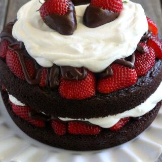 Gluten-free Chocolate Strawberry Layer Cake Dessert