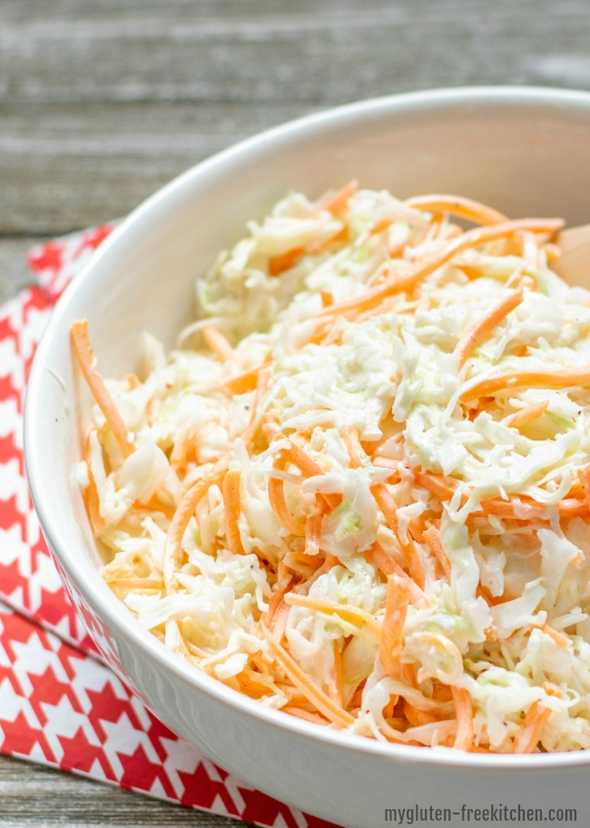 Gluten-free Simple Coleslaw Recipe in bowl