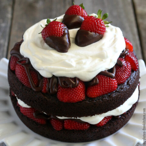 Gluten-free Chocolate Strawberry Layer Cake