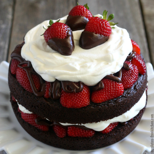 Decadent Gluten-free Strawberry Chocolate Layer Cake