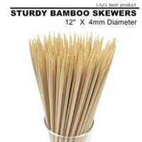 12 inch Natural Bamboo Skewers for Kabobs (100 PCS)