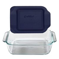 Pyrex 8x8 Square Baking Dish with Blue Plastic Lid