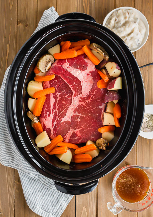 Ingredients for gluten-free pot roast in Crockpot