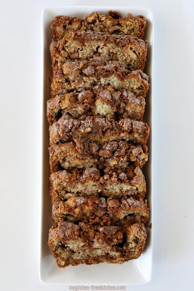 White platter with Sliced Gluten-free Apple Cinnamon Bread