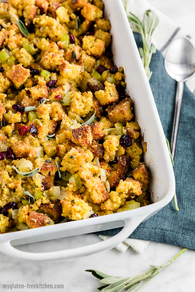 Pan of Gluten-free Cornbread Stuffing Recipe
