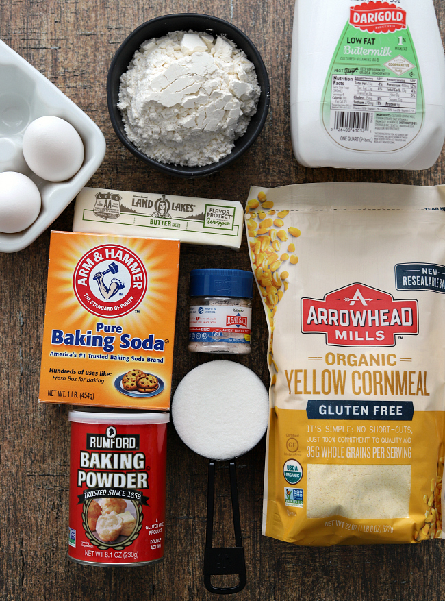 Ingredients for gluten-free cornbread muffins