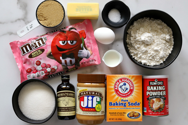 Ingredients for gluten-free peanut butter m&m cookies