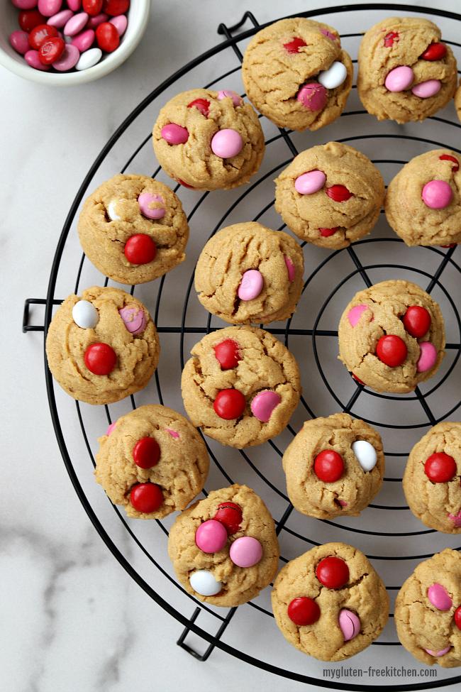 Cookie Rack with Valentine's Gluten-free Peanut Butter M&M Cookies