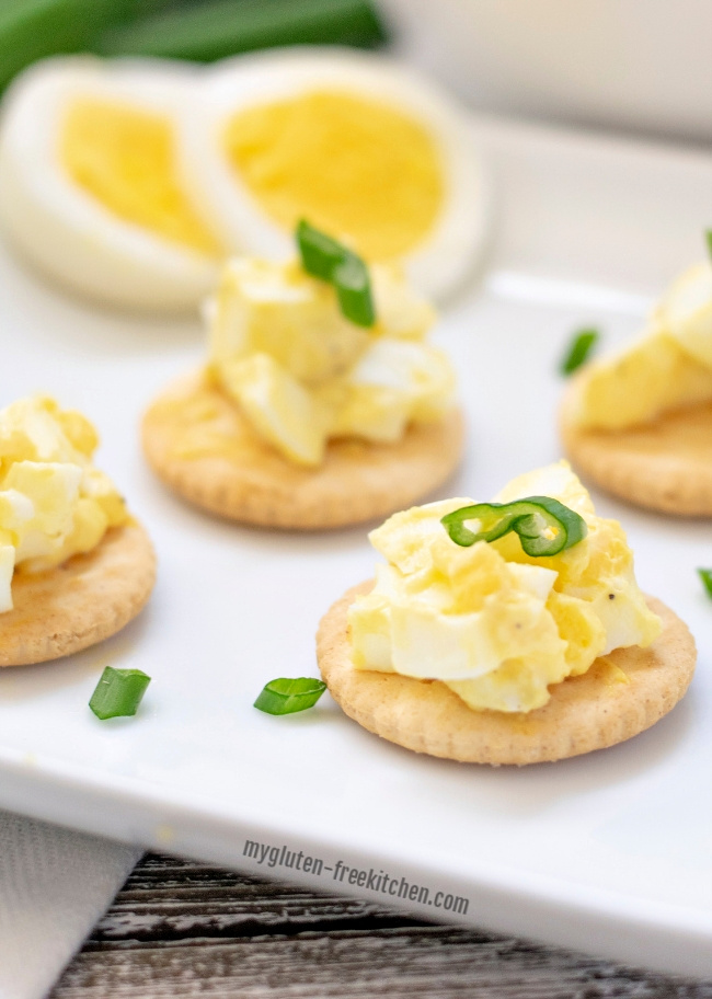 Egg Salad on gluten-free crackers