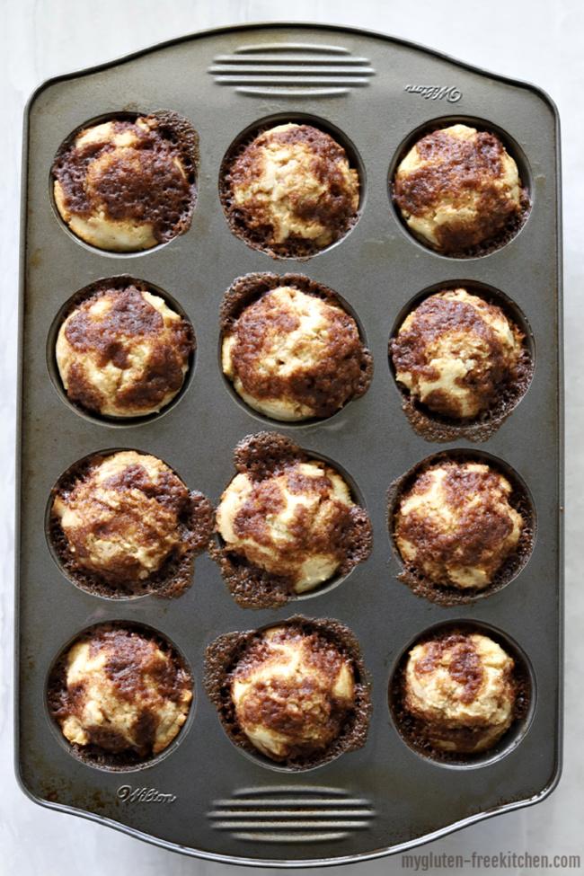 Muffin pan full of gluten-free cinnamon muffins