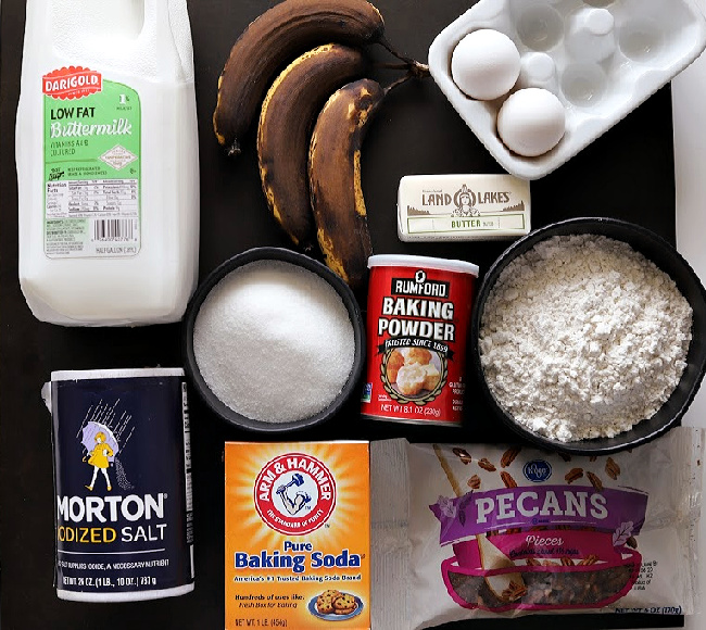 Ingredients for gluten-free banana nut bread