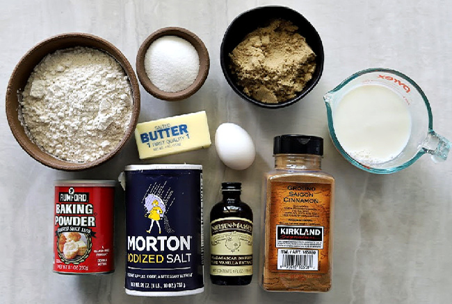 Ingredients for gluten-free cinnamon muffins